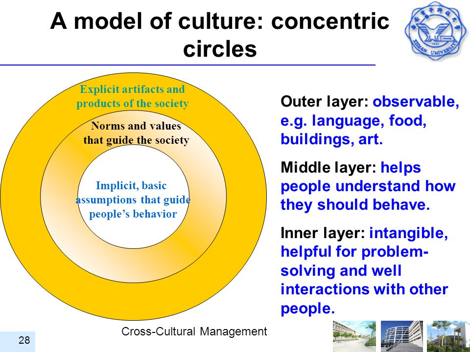 Cross-Cultural Management 28 A model of culture: concentric circles Explicit artifacts and products of the society Implicit, basic assumptions that gu