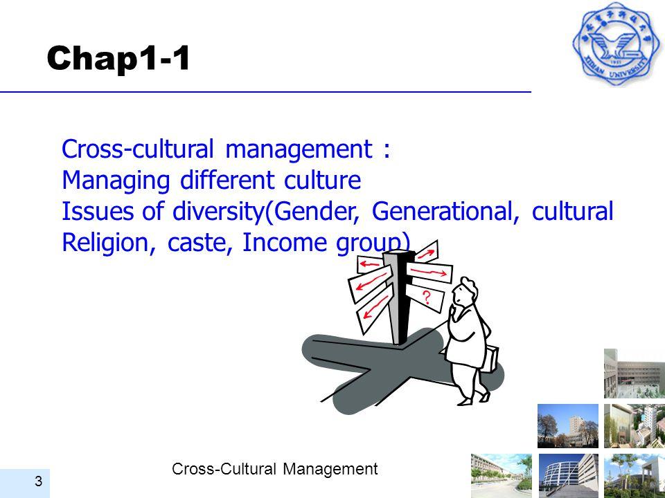 Cross-Cultural Management 3 Chap1-1 Cross-cultural management : Managing different culture Issues of diversity(Gender, Generational, cultural Religion