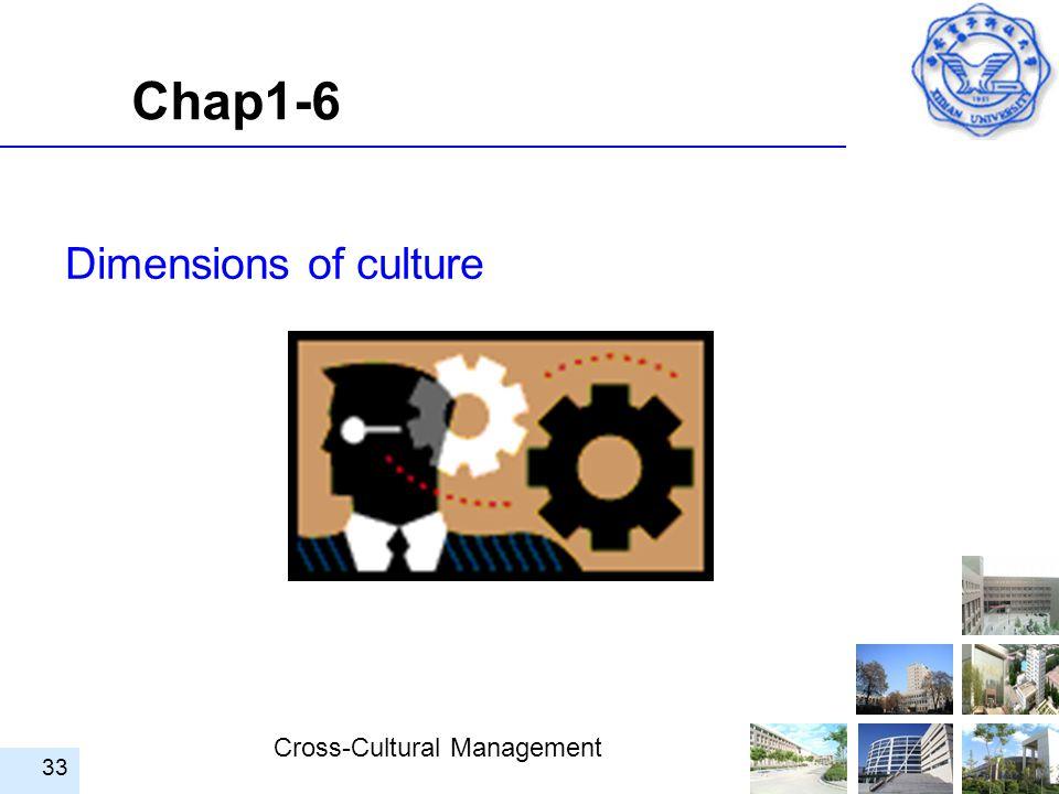 Cross-Cultural Management 33 Dimensions of culture Chap1-6