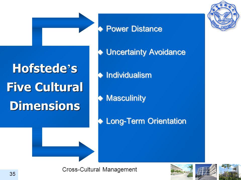 Cross-Cultural Management 35 Hofstede ' s Five Cultural Dimensions u Power Distance u Uncertainty Avoidance u Individualism u Masculinity u Long-Term