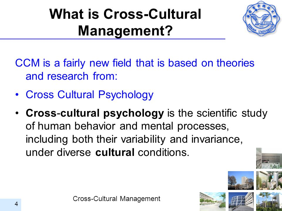 Cross-Cultural Management 4 What is Cross-Cultural Management? CCM is a fairly new field that is based on theories and research from: Cross Cultural P