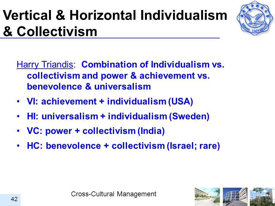 Cross-Cultural Management 42 Vertical & Horizontal Individualism & Collectivism Harry Triandis: Combination of Individualism vs. collectivism and powe