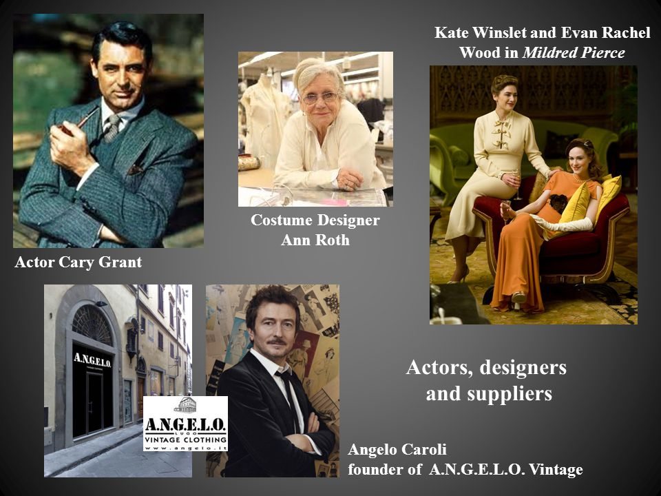 Actor Cary Grant Costume Designer Ann Roth Kate Winslet and Evan Rachel Wood in Mildred Pierce Angelo Caroli founder of A.N.G.E.L.O. Vintage Actors, d