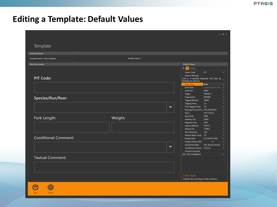 Editing a Template: Default Values