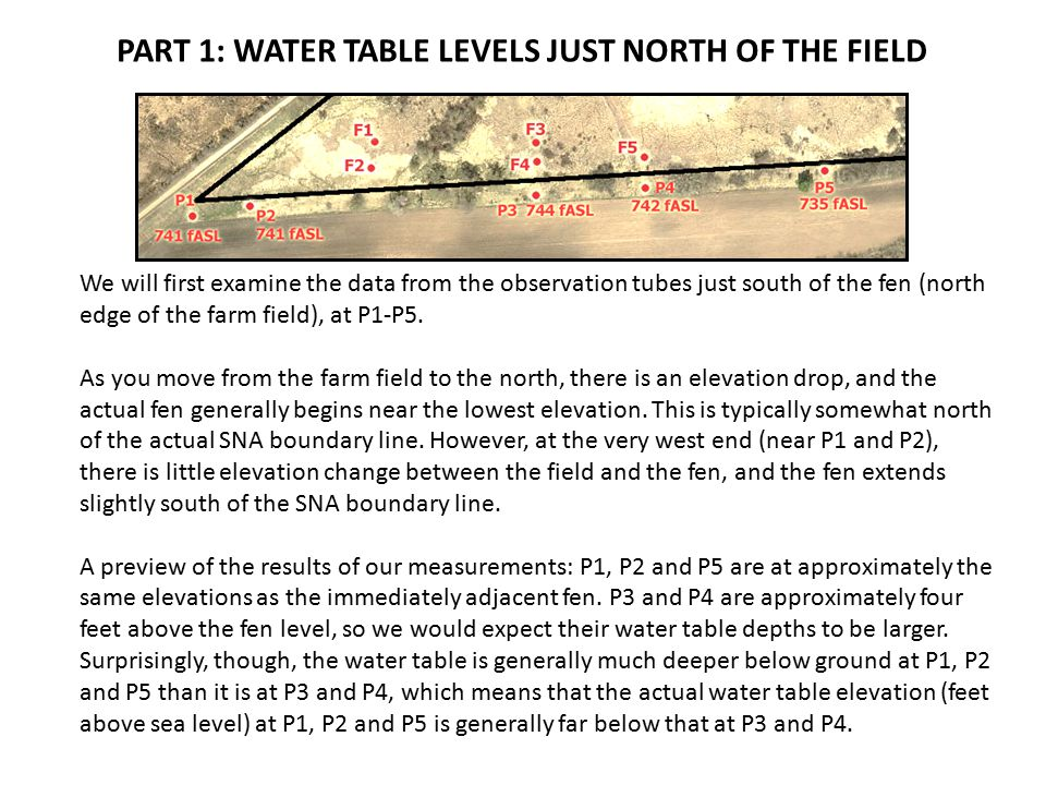 PART 1: WATER TABLE LEVELS JUST NORTH OF THE FIELD We will first examine the data from the observation tubes just south of the fen (north edge of the farm field), at P1-P5.