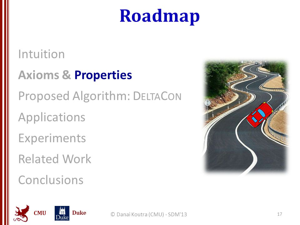 CMU Duke Roadmap Intuition Axioms & Properties Proposed Algorithm: D ELTA C ON Applications Experiments Related Work Conclusions © Danai Koutra (CMU) - SDM 13 17