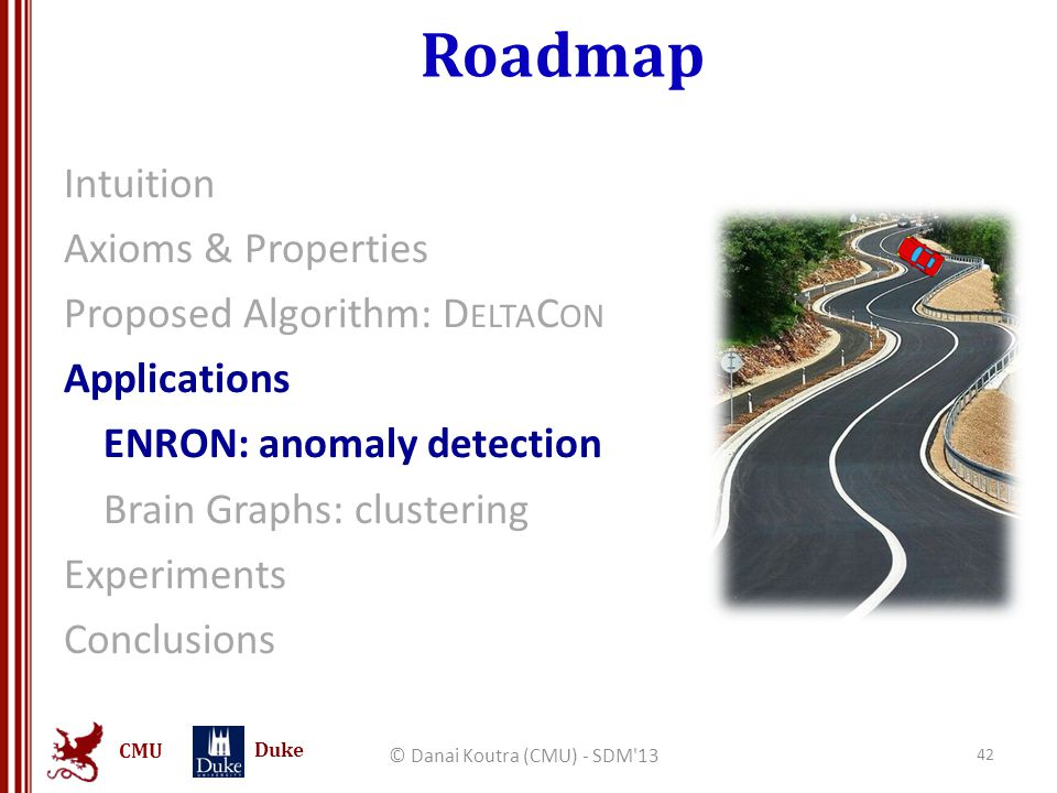 CMU Duke Roadmap Intuition Axioms & Properties Proposed Algorithm: D ELTA C ON Applications ENRON: anomaly detection Brain Graphs: clustering Experime