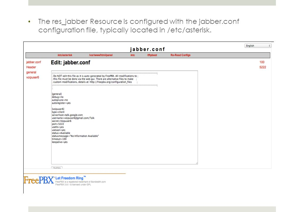 The res_jabber Resource is configured with the jabber.conf configuration file, typically located in /etc/asterisk.