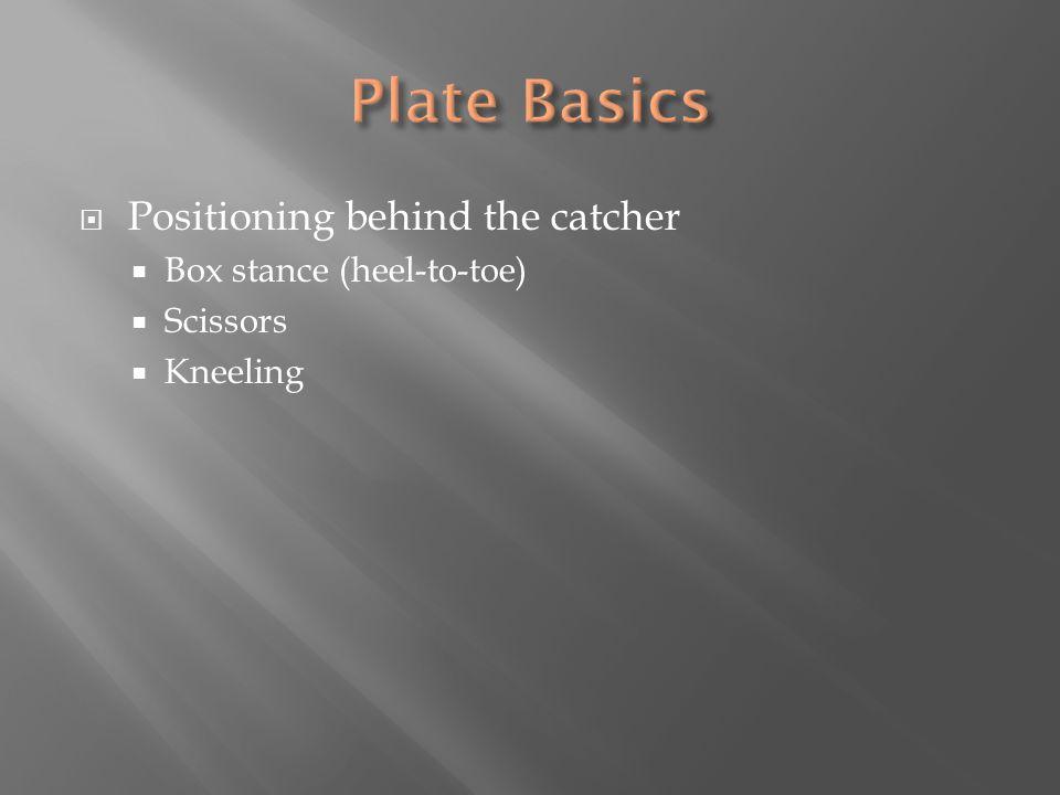  Positioning behind the catcher  Box stance (heel-to-toe)  Scissors  Kneeling
