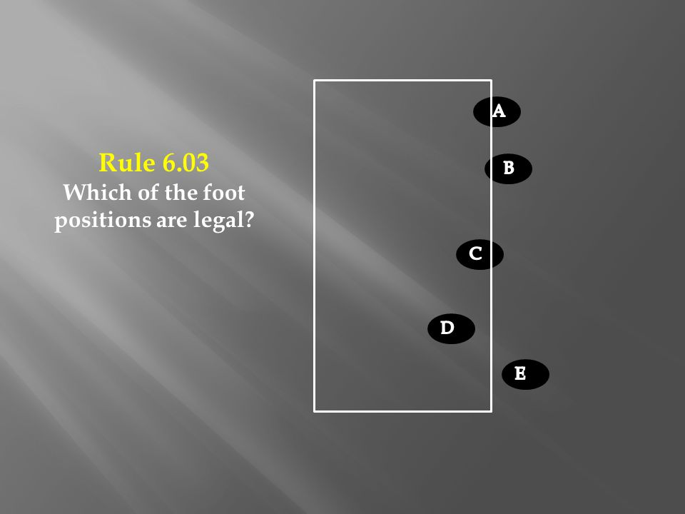 Rule 6.03 Which of the foot positions are legal