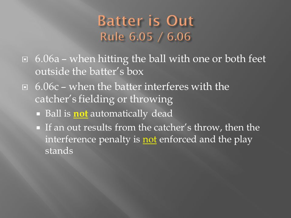  6.06a – when hitting the ball with one or both feet outside the batter's box  6.06c – when the batter interferes with the catcher's fielding or thr