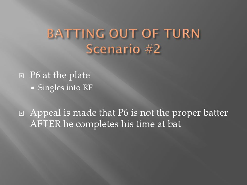  P6 at the plate  Singles into RF  Appeal is made that P6 is not the proper batter AFTER he completes his time at bat