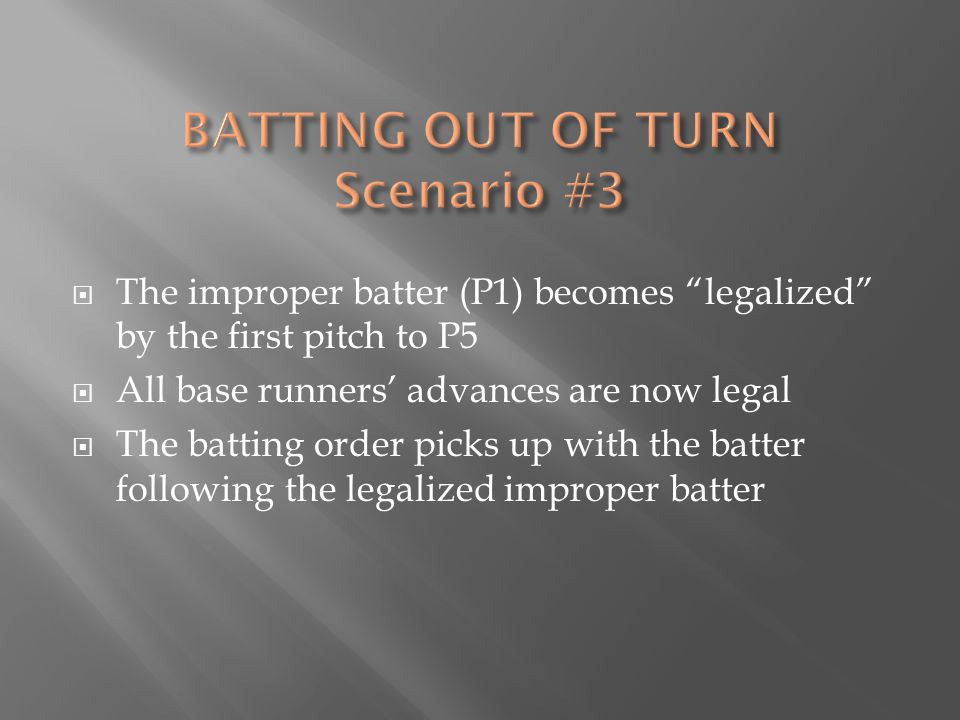  The improper batter (P1) becomes legalized by the first pitch to P5  All base runners' advances are now legal  The batting order picks up with the batter following the legalized improper batter