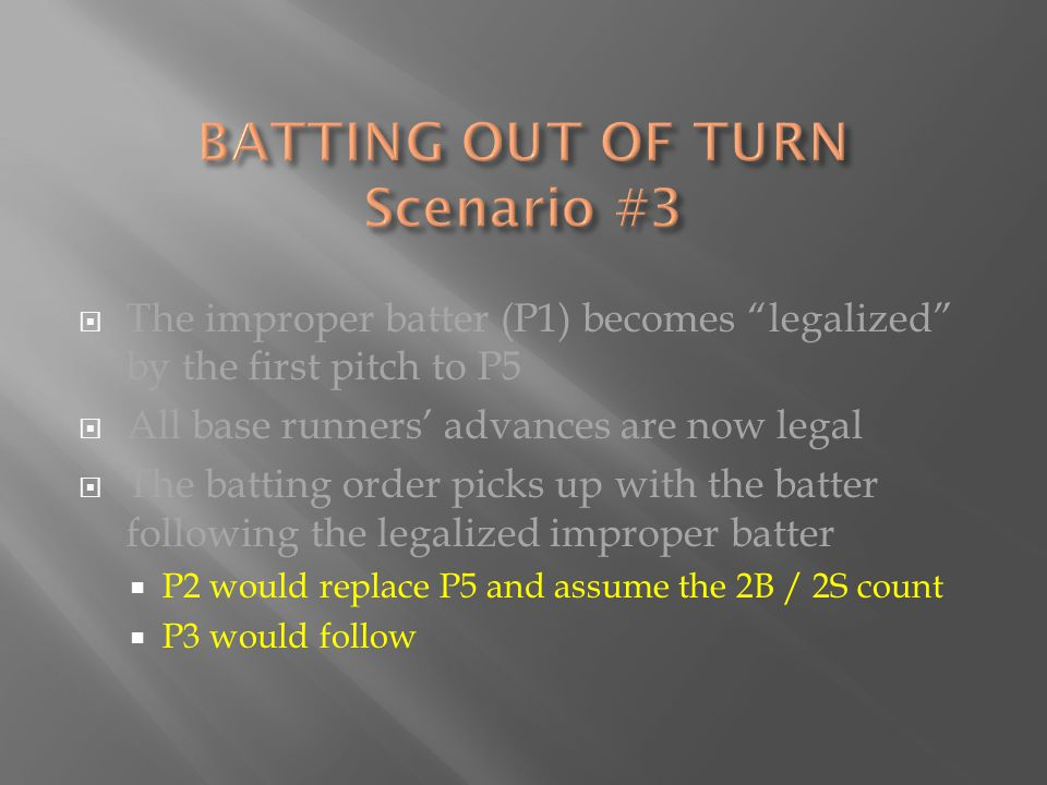  The improper batter (P1) becomes legalized by the first pitch to P5  All base runners' advances are now legal  The batting order picks up with the batter following the legalized improper batter  P2 would replace P5 and assume the 2B / 2S count  P3 would follow