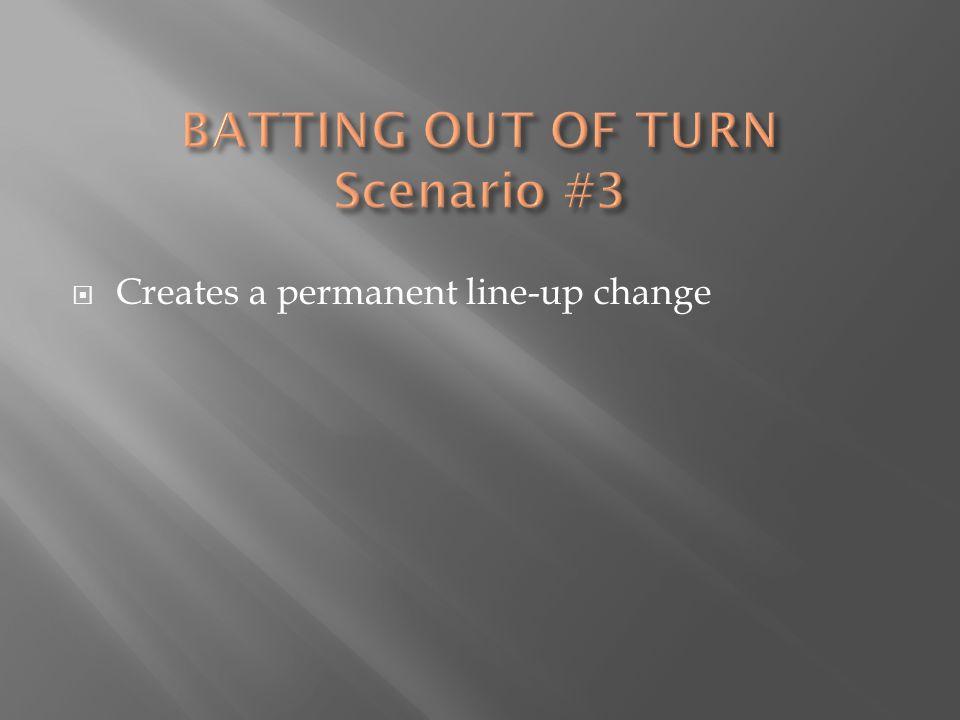  Creates a permanent line-up change