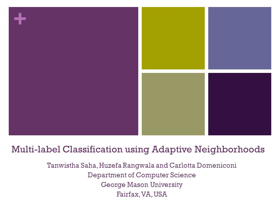 + Our Contributions Incorporate rank based neighborhood selection for influential nodes in Multi-label Collective Classification Proposing a simple neighborhood ranking based naïve Bayes network classifier Proposing an unbiased validation method