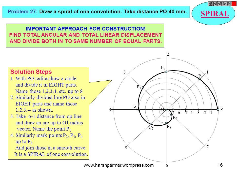 7 6 5 4 3 2 1 P 1 2 3 4 5 6 7 P2P2 P6P6 P1P1 P3P3 P5P5 P7P7 P4P4 O SPIRAL Problem 27: Draw a spiral of one convolution. Take distance PO 40 mm. Soluti