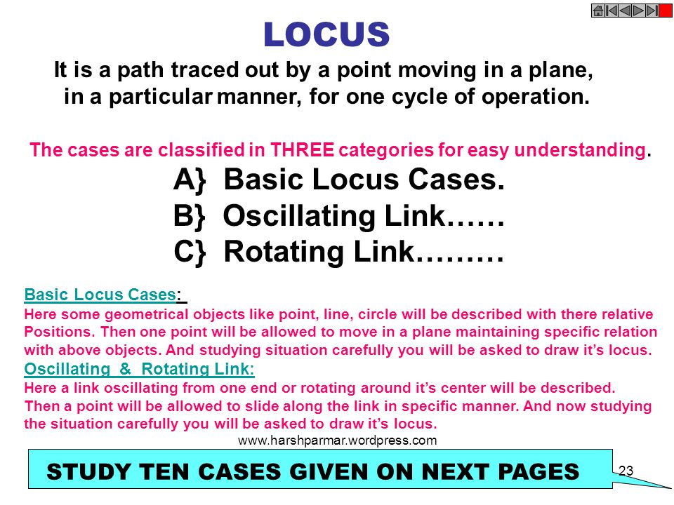 LOCUS It is a path traced out by a point moving in a plane, in a particular manner, for one cycle of operation. The cases are classified in THREE cate