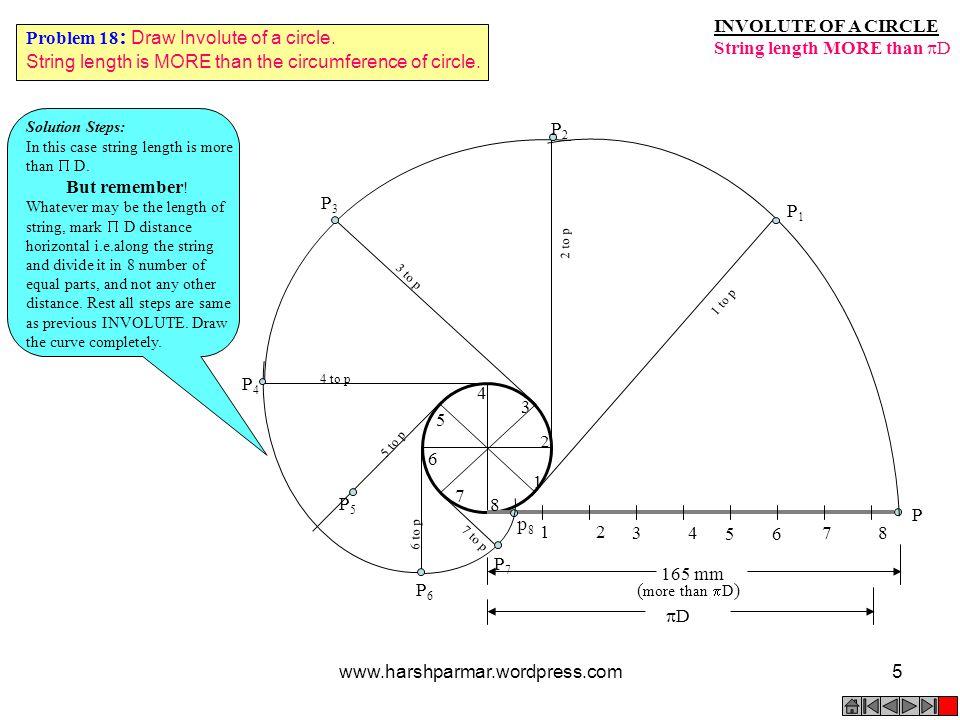 INVOLUTE OF A CIRCLE String length MORE than  D 1 2 3 4 5 6 7 8 P 1 2 3 4 5 6 7 8 P3P3 3 to p P4P4 4 to p P5P5 5 to p P7P7 7 to p P6P6 6 to p P2P2 2