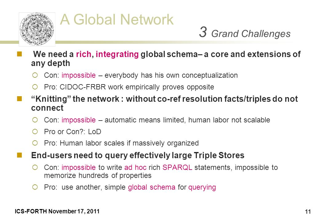 A Global Network ICS-FORTH November 17, 2011 11 We need a rich, integrating global schema– a core and extensions of any depth  Con: impossible – ever