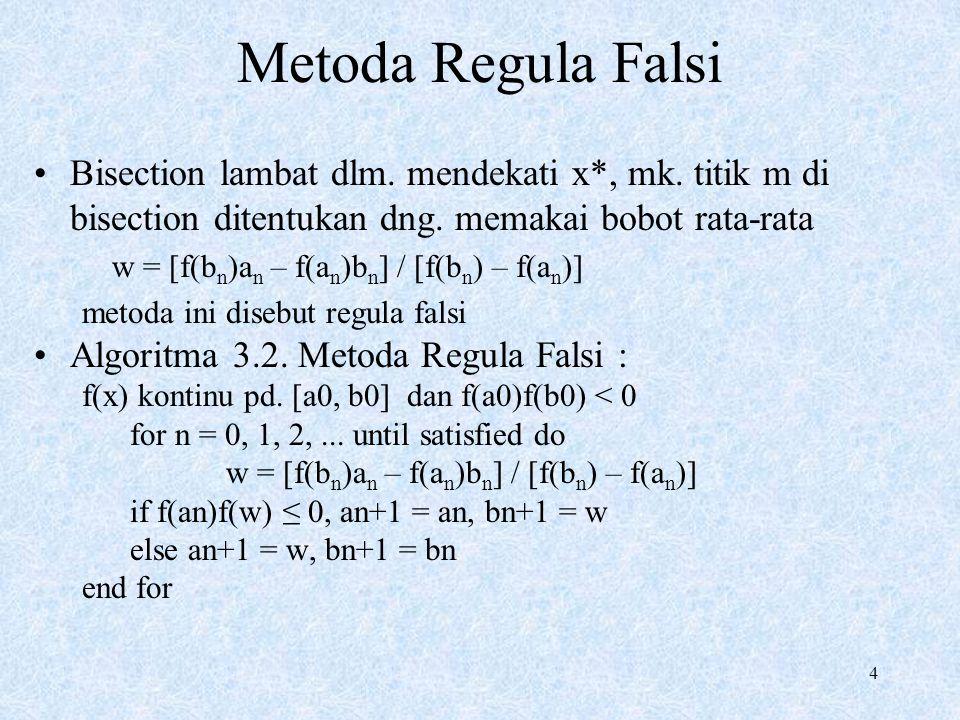 4 Metoda Regula Falsi Bisection lambat dlm. mendekati x*, mk.
