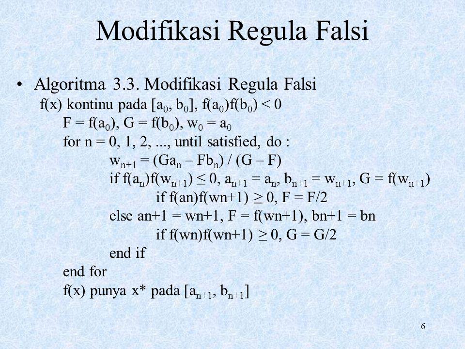 7 Modifikasi Regula Falsi
