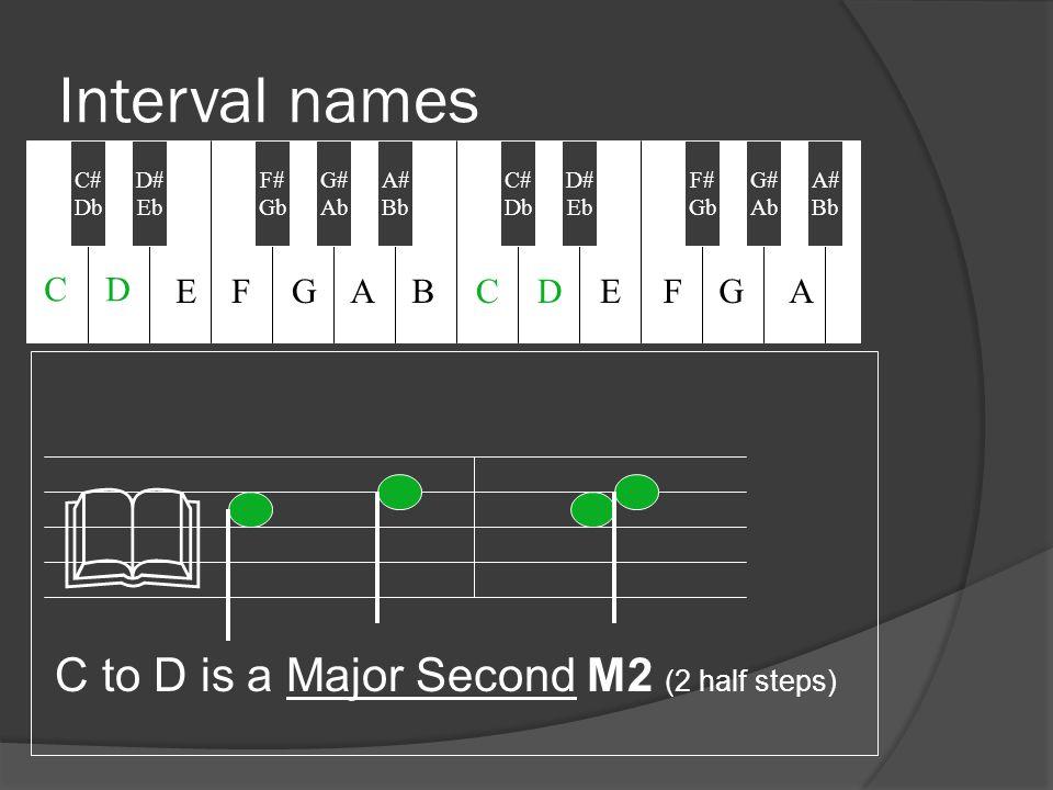 Interval names C to D is a Major Second M2 (2 half steps) & C# Db D# Eb F# Gb A# Bb C# Db G# Ab D# Eb F# Gb G# Ab A# Bb CD EFGABCDEFGA