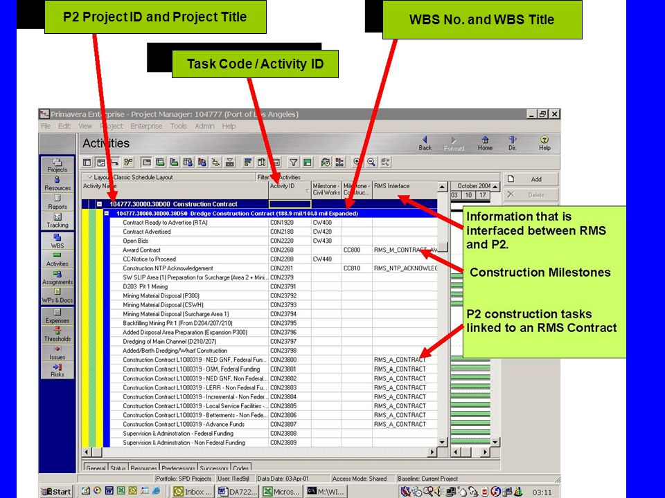 P2 Project ID and Project Title WBS No. and WBS Title Task Code / Activity ID