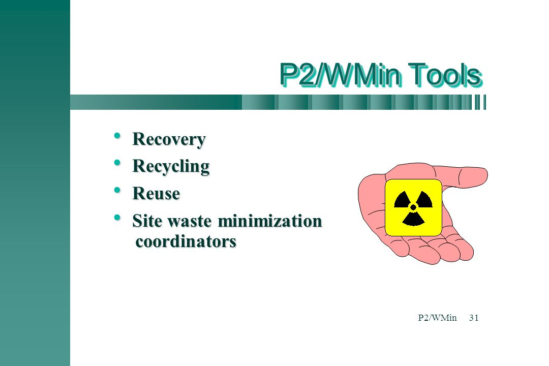P2/WMin31 P2/WMin Tools  Recovery  Recycling  Reuse  Site waste minimization coordinators