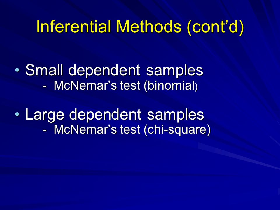 Inferential Methods (cont'd) Small dependent samples - McNemar's test (binomial )Small dependent samples - McNemar's test (binomial ) Large dependent