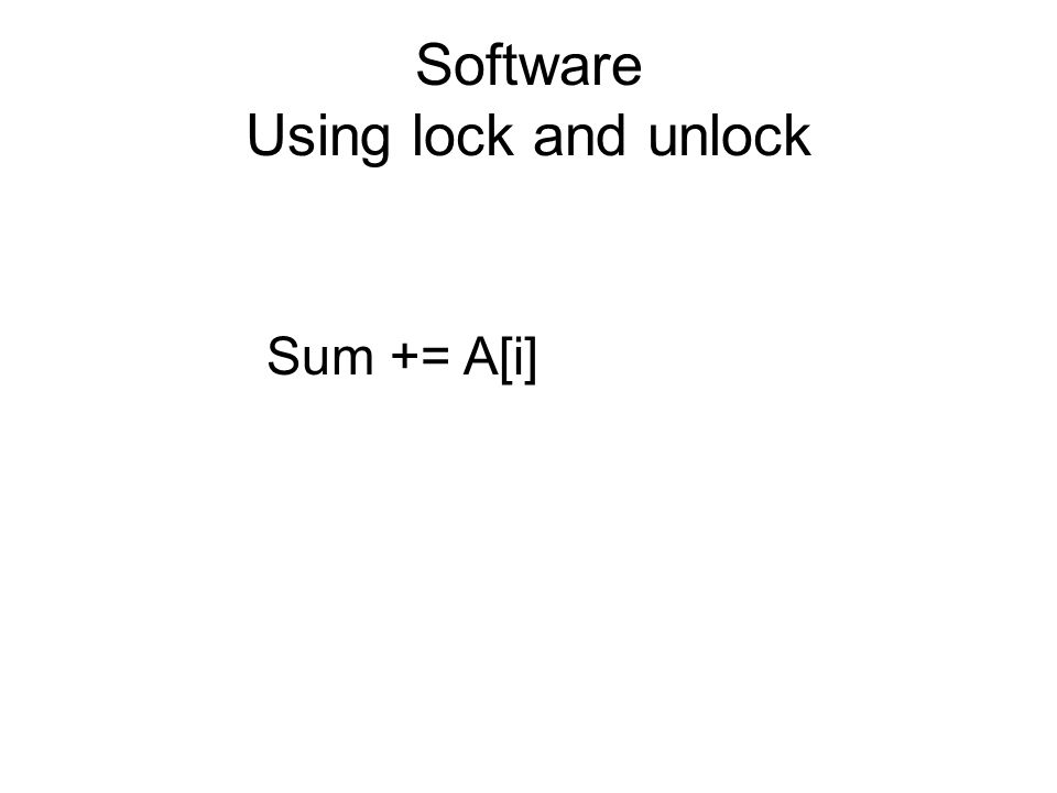 Software Using lock and unlock Sum += A[i]