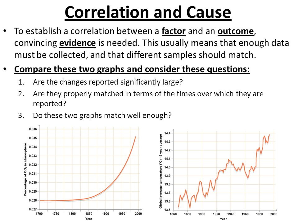 Correlation and Cause To establish a correlation between a factor and an outcome, convincing evidence is needed.