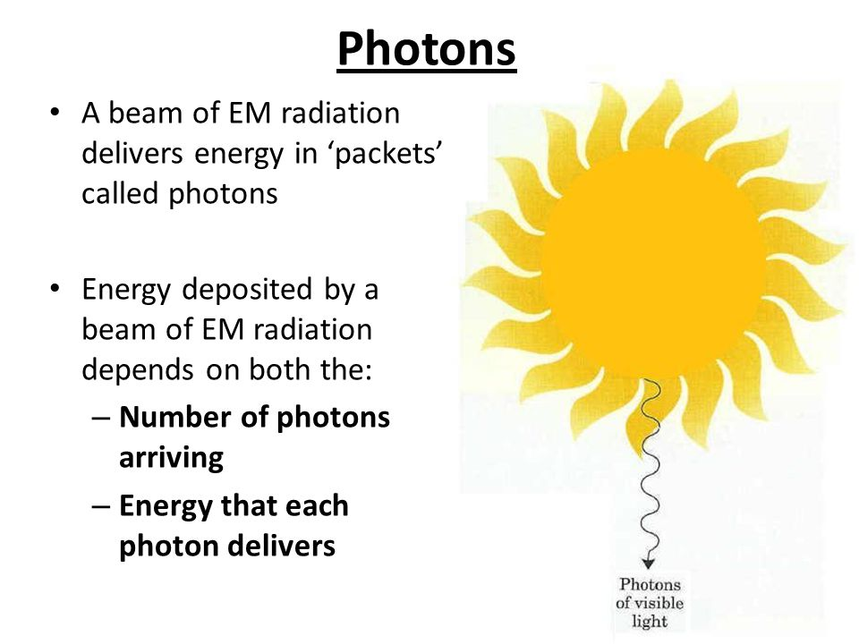 Photons A beam of EM radiation delivers energy in 'packets' called photons Energy deposited by a beam of EM radiation depends on both the: – Number of photons arriving – Energy that each photon delivers