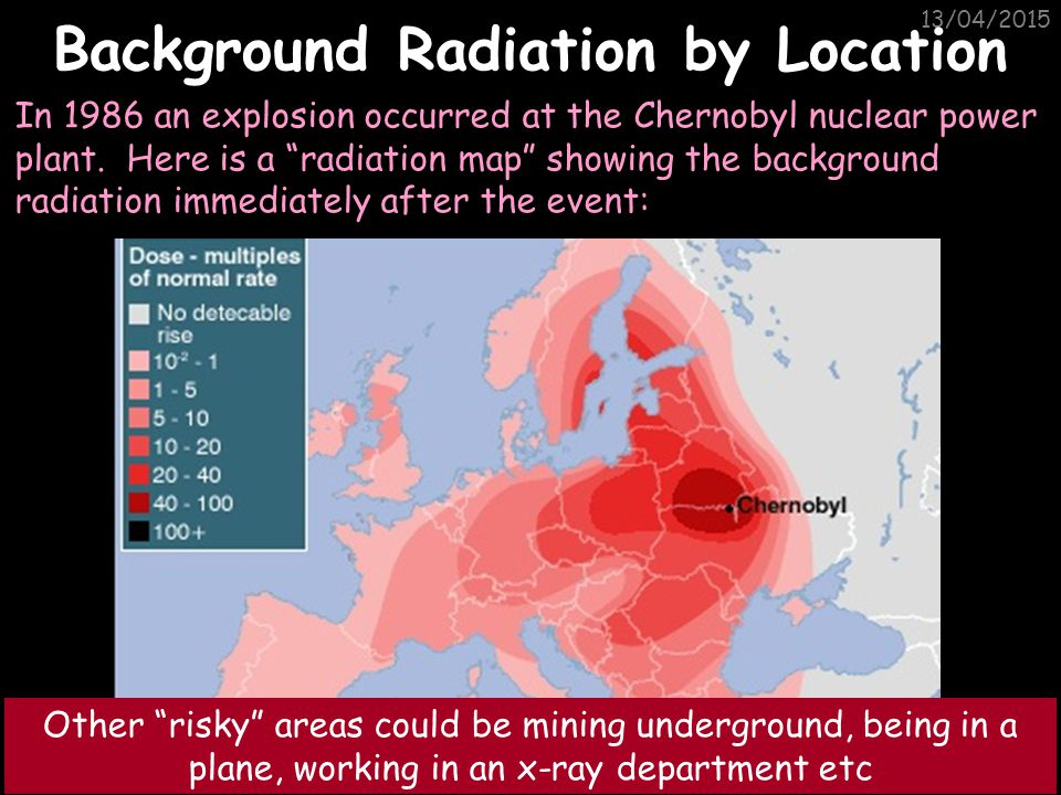 13/04/2015 Background Radiation Radon gas Food Cosmic rays Gamma rays Medical Nuclear power 13% are man-made