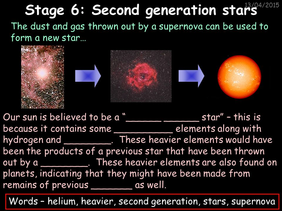 13/04/2015 The dust and gas on the outside of the supernova are thrown away by the explosion and the remaining core turns into a NEUTRON STAR. If the