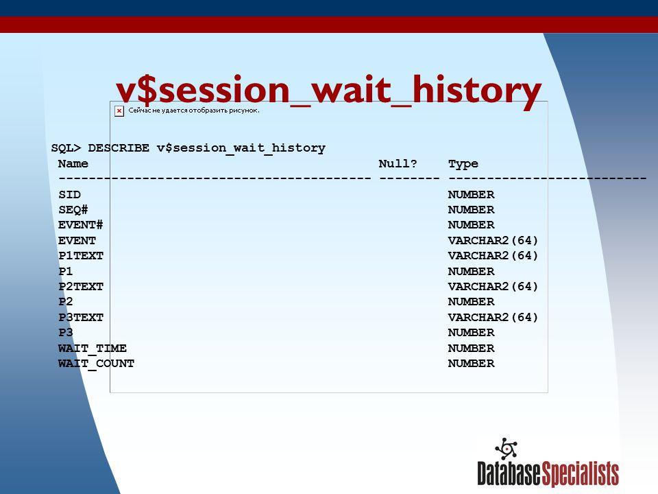 21 v$session_wait_history SQL> DESCRIBE v$session_wait_history Name Null? Type ----------------------------------------- -------- --------------------