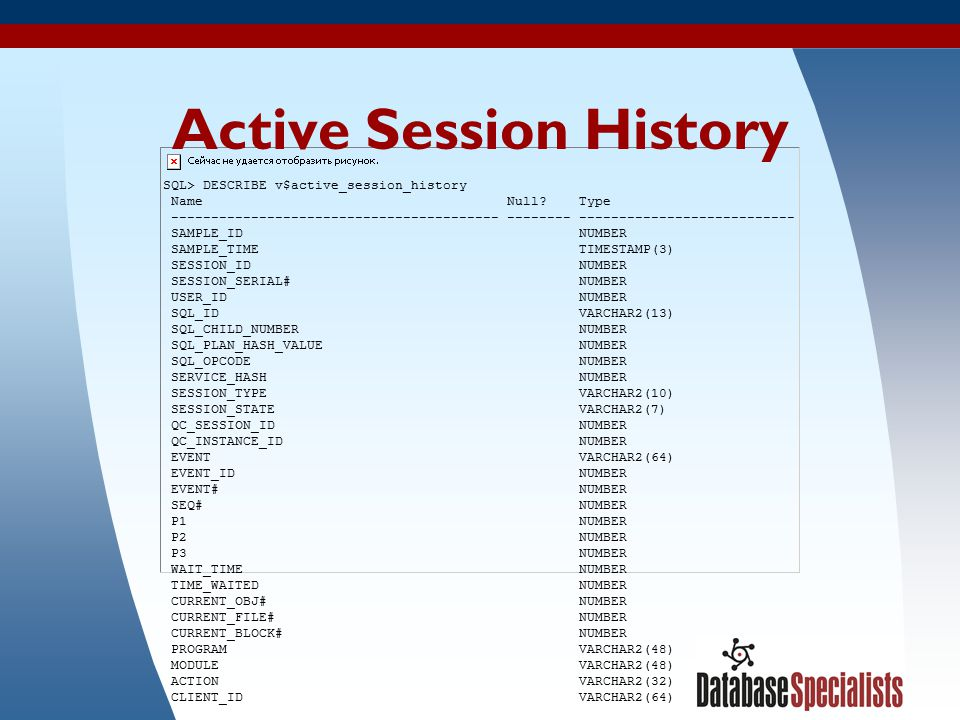 34 Active Session History SQL> DESCRIBE v$active_session_history Name Null? Type ----------------------------------------- -------- ------------------