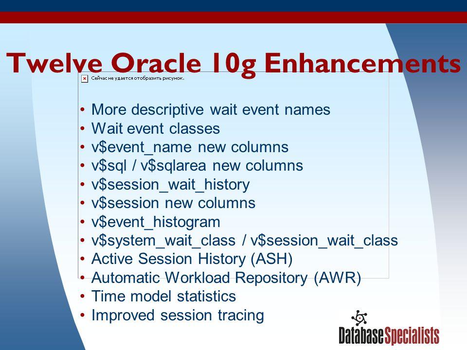 4 Twelve Oracle 10g Enhancements More descriptive wait event names Wait event classes v$event_name new columns v$sql / v$sqlarea new columns v$session