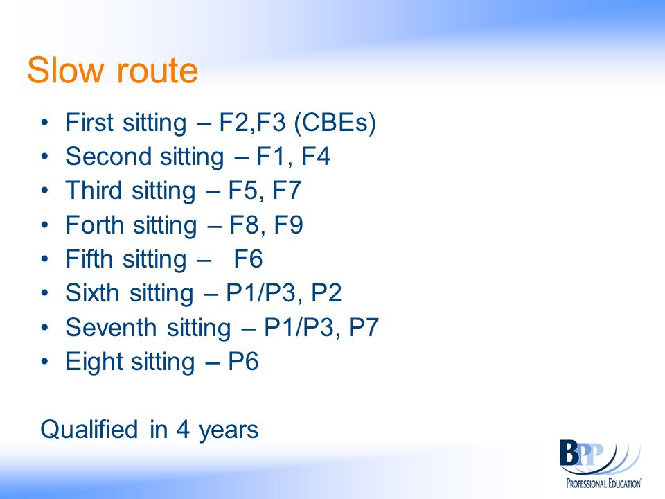 Slow route First sitting – F2,F3 (CBEs) Second sitting – F1, F4 Third sitting – F5, F7 Forth sitting – F8, F9 Fifth sitting – F6 Sixth sitting – P1/P3