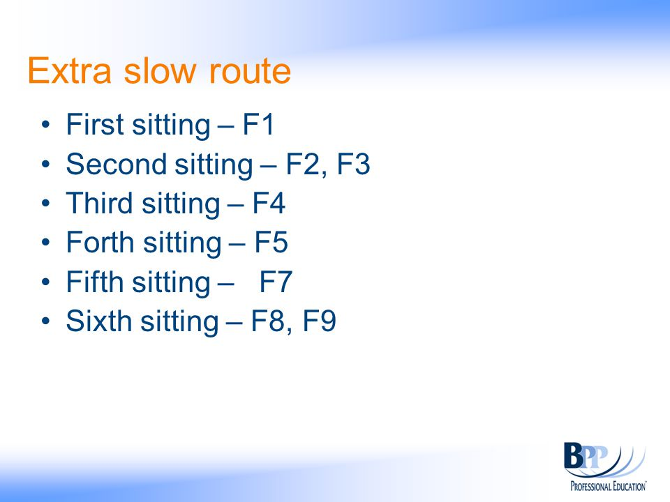Extra slow route First sitting – F1 Second sitting – F2, F3 Third sitting – F4 Forth sitting – F5 Fifth sitting – F7 Sixth sitting – F8, F9