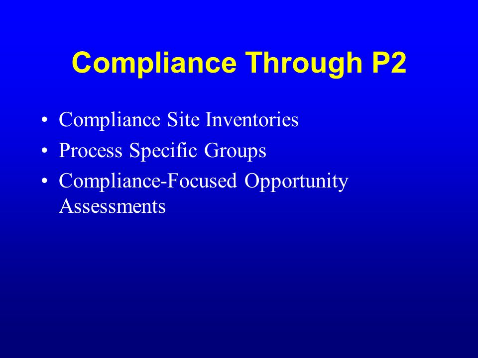 Compliance Through P2 Compliance Site Inventories Process Specific Groups Compliance-Focused Opportunity Assessments