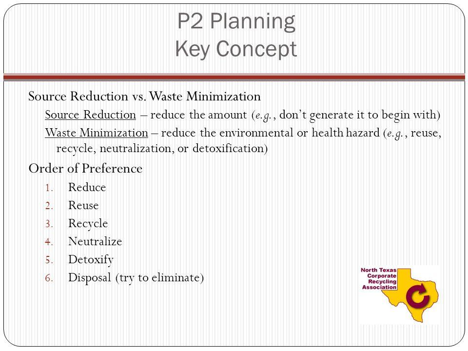 P2 Planning Key Concept Source Reduction vs.