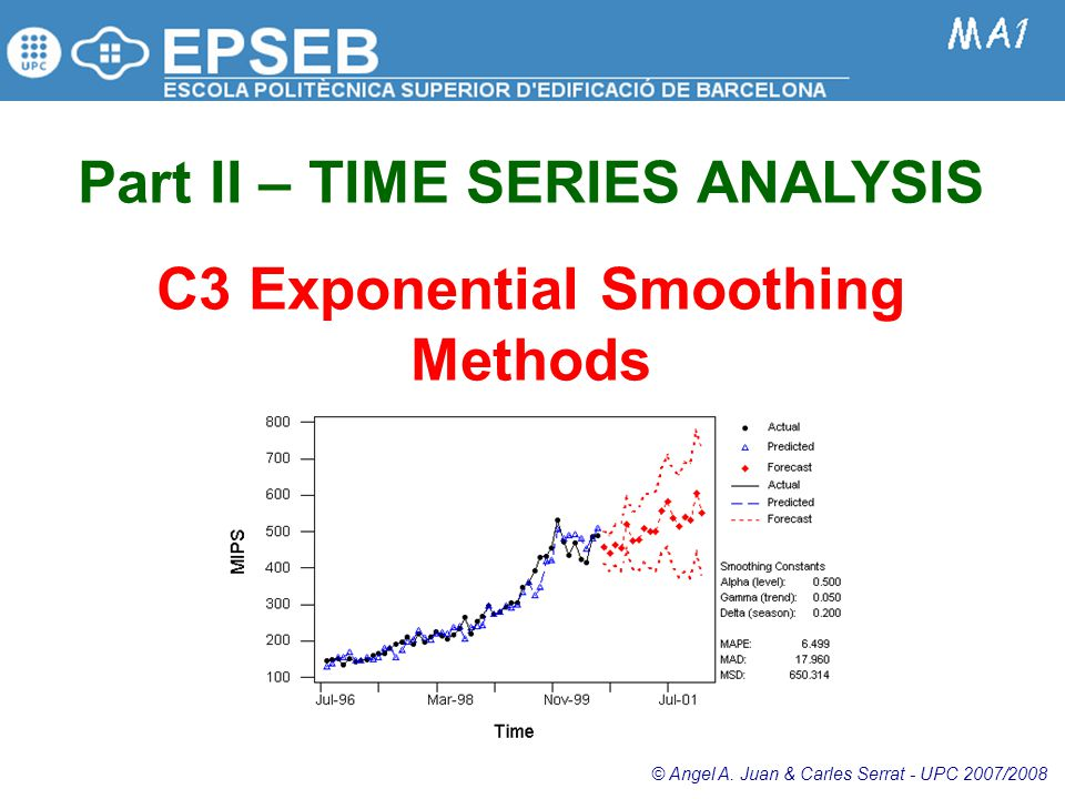2.3.1: Simple TS and Smoothing Methods  The simple forecasting and smoothing methods model components in a series that are usually easy to see in a time series plot of the data.