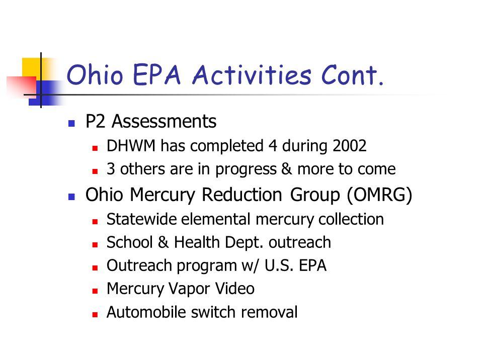 Ohio EPA Activities Cont.