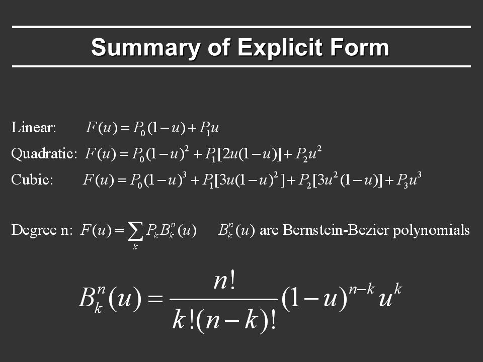 Summary of Explicit Form