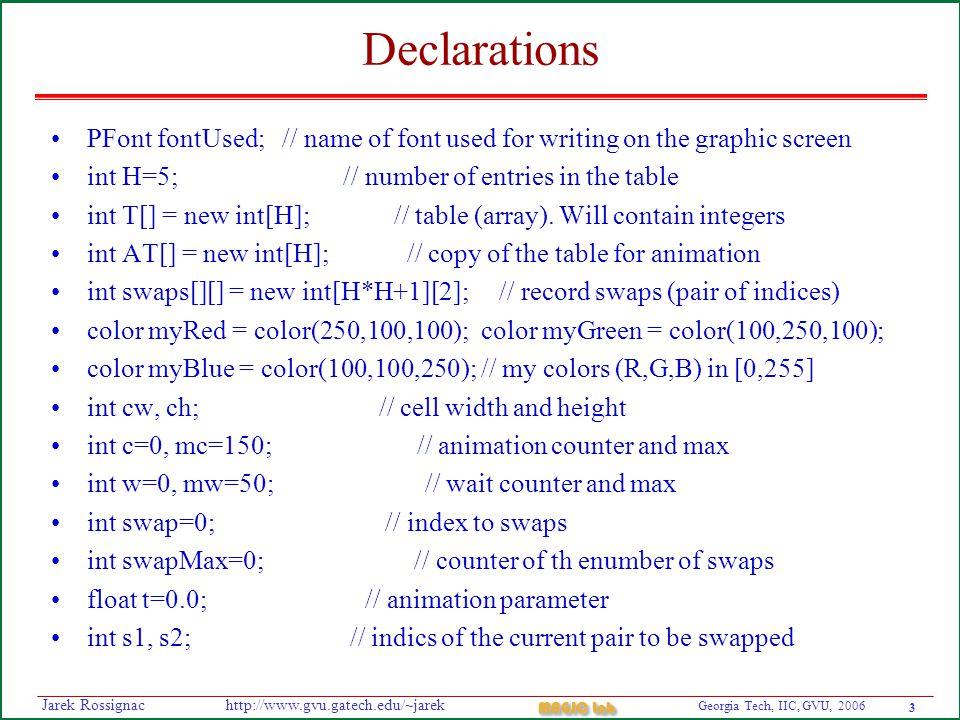 4 Georgia Tech, IIC, GVU, 2006 MAGIC Lab http://www.gvu.gatech.edu/~jarekJarek Rossignac Setup void setup() { // executed only once as initialization size(500, 500); // opens graphic window of 600x600 pixels.