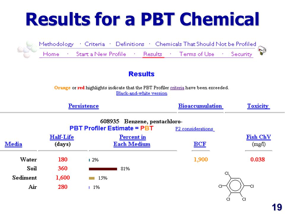 19 Results for a PBT Chemical 19