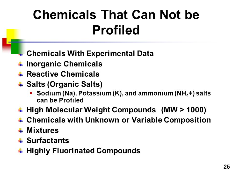 25 Chemicals With Experimental Data Inorganic Chemicals Reactive Chemicals Salts (Organic Salts)  Sodium (Na), Potassium (K), and ammonium (NH 4 +) salts can be Profiled High Molecular Weight Compounds (MW > 1000) Chemicals with Unknown or Variable Composition Mixtures Surfactants Highly Fluorinated Compounds Chemicals That Can Not be Profiled