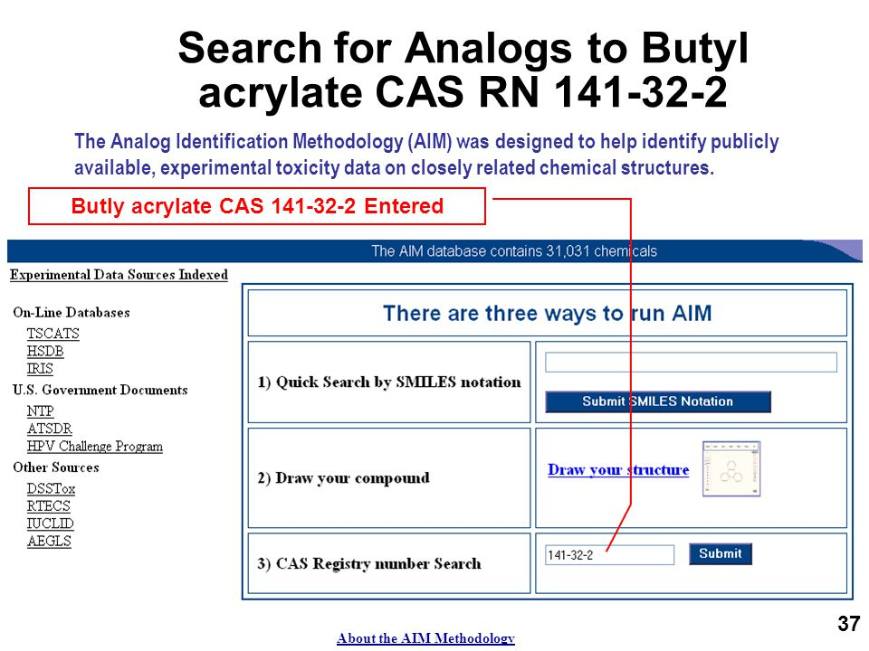 37 Search for Analogs to Butyl acrylate CAS RN 141-32-2 The Analog Identification Methodology (AIM) was designed to help identify publicly available, experimental toxicity data on closely related chemical structures.