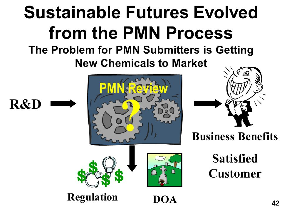 42 Sustainable Futures Evolved from the PMN Process The Problem for PMN Submitters is Getting New Chemicals to Market R&D Regulation DOA Business Benefits Satisfied Customer $ $$ $ 42 PMN Review